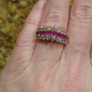 ruby and white sapphire ring set in 14kt yellow